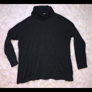 Black Turtleneck Sweater, Cutout Design on Back